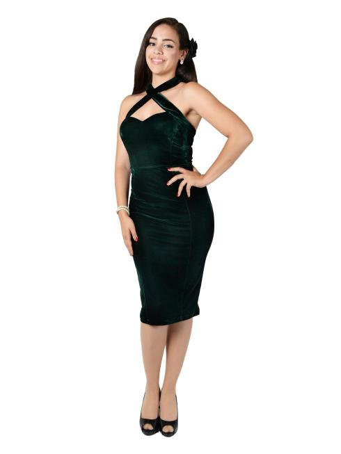 Penny Velvet Pencil Dress Green FrontW